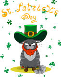 Disgruntled color Cat dressed as a leprechaun. Poster St. Patrick`s Day. Vector illustration. Disgruntled color Cat dressed as a leprechaun. Poster St. Patrick`s Royalty Free Stock Photos