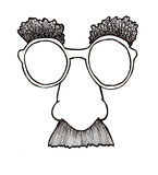 Disguise Mask. Hand drawn illustration of a disguise mask.  Line drawing with some shading Royalty Free Stock Image