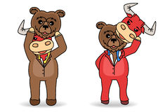 Disguised Bear and bull mask under rival his shirt. Stock market concept. Stock Photo