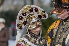 Disguised Couple - Annecy Venetian Carnival 2013 Royalty Free Stock Photography