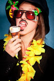Disguised girl Stock Images