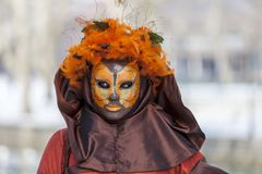 Disguised Person - Annecy Venetian Carnival 2013 Stock Photos