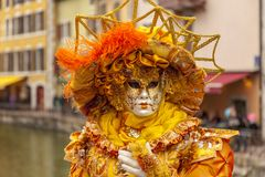Disguised Person - Annecy Venetian Carnival 2014 royalty free stock photography