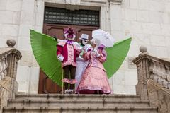 Disguised Persons - Annecy Venetian Carnival 2014 royalty free stock photo