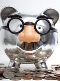 Disguised Piggy Bank and Change Royalty Free Stock Photos