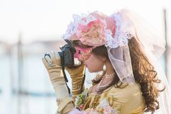 Disguised woman at the Carnival of Venice Stock Photography
