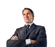 Disgust. Ed businessman on white background royalty free stock photo