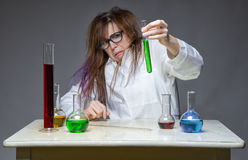 Disgust and messy chemist Royalty Free Stock Photos