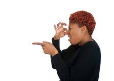 Disgusted женщина, плохой запах стоковое изображение rf