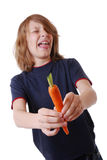 Disgusted by a carrot Stock Photography