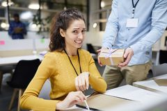Disgusted by colleagues gift stock photo