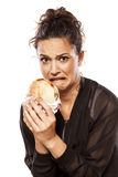 Disgusted by her sandwich Stock Photos