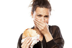 Disgusted by her sandwich Stock Photography