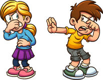 Disgusted kids stock illustration