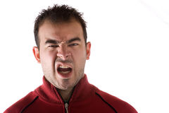 Disgusted Man. Young man isolated over white with a disgusted look on his face royalty free stock images