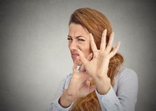 Disgusted woman. Closeup portrait displeased, disgusted woman royalty free stock image