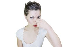 Disgusted woman Royalty Free Stock Photos