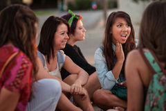 Disgusted Young Woman with Friends Royalty Free Stock Photo