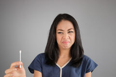 Disgusting face Asian woman. royalty free stock image