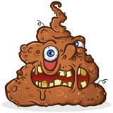 Poop Monster Cartoon Character with a Grotesque Melting Face. A disgusting pile of brown squishy poop with chunks and little hairs poking out vector illustration