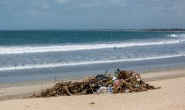 Disgusting and unsafe piles of rubbish on the beach in bali indonesia on 15th december 2018. Disgusting and unsafe piles of rubbish seen on the beach in bali stock image