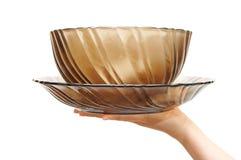 dish пустая женская стеклянная рука Стоковая Фотография RF