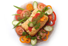 Dish 10a. Delicious meat pie and vegetables dish at a restaurant stock image
