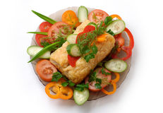 Dish 10b. Delicious meat pie and vegetables dish at a restaurant stock images
