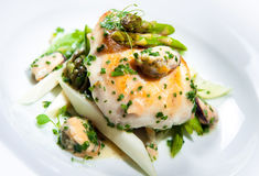 Dish. Delicious dish with fish fillet, asparagus and herbs on a plate Stock Photography