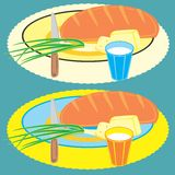Dish. The vector image grouped useful foodstuff dishes, for a breakfast Stock Illustration