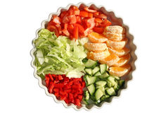 Dish of 5 portions of salad and fruit. Royalty Free Stock Photo
