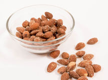 Dish of almonds Royalty Free Stock Photography