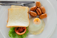 A dish of american breakfast. American breakfast in a resort at Samed island, Thailand stock photo