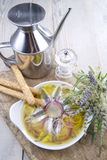 Dish of anchovies and onions. Traditional dish of Italian cuisine typical of the Tuscan regional humble dish made with anchovies and onions royalty free stock images