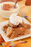 Dish Of Apple Crisp. A Dish Of Apple Crisp with Whipped Cream Topping and Eggnog royalty free stock photo