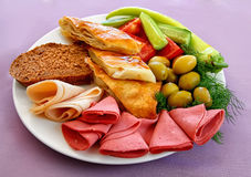 Dish of assorted snacks Stock Photos