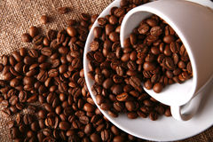 Dish and beans of coffee Stock Images