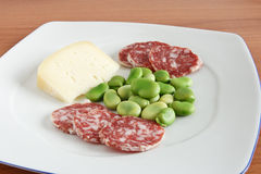 Dish with beans salami and cheese Stock Image