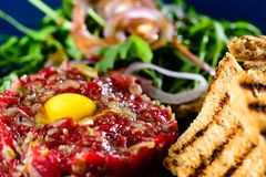 Dish with beef tartare, tomatoes and leaves in a cafe Royalty Free Stock Photo