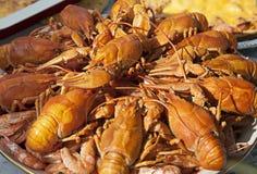 Dish of boiled crawfish closeup Royalty Free Stock Image