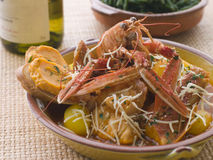 Dish of Bouillabaisse with Rouille Croutes Stock Photography