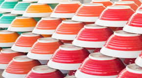 Dish-Bowl-Stack of colorful plates. Menu concept Royalty Free Stock Photography