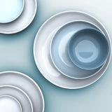Dish and bowl top veiw Royalty Free Stock Photo