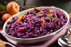 Dish of braised red cabbage and apple Stock Image