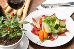 Dish of bresaola and vegetables Royalty Free Stock Photos