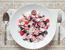 Dish of buttons Royalty Free Stock Images