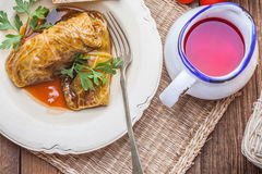 Dish of cabbage stuffed with meat. Royalty Free Stock Images