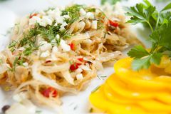 Dish of cabbage and sweet pepper Royalty Free Stock Images