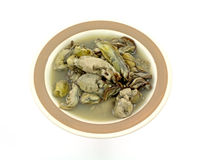 Dish Canned Boiled Oysters Overhead View Royalty Free Stock Images