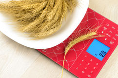 Dish of cereals on electronic kitchen scales Stock Photo